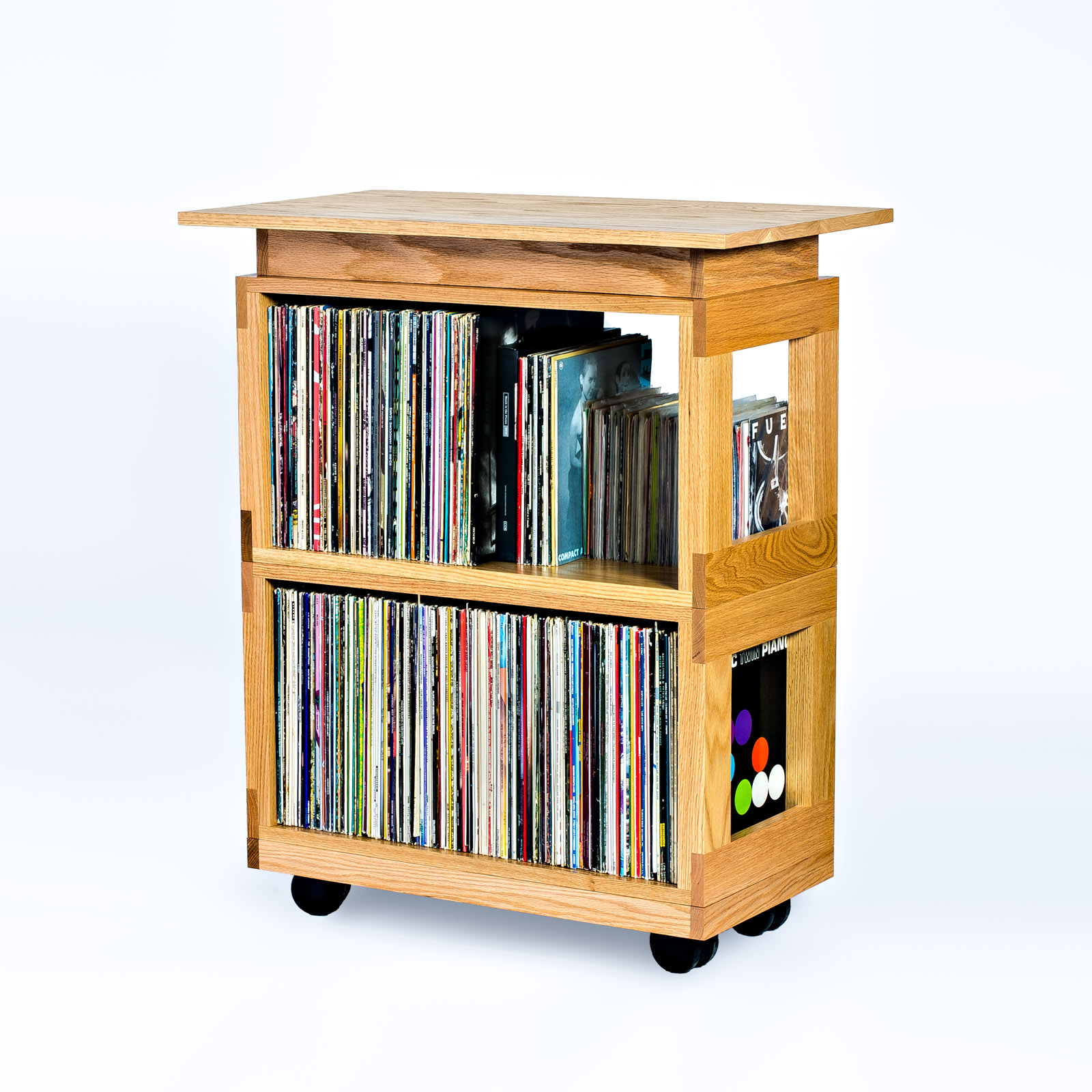 Oak Heirloom LP Cart with Pedestal Top