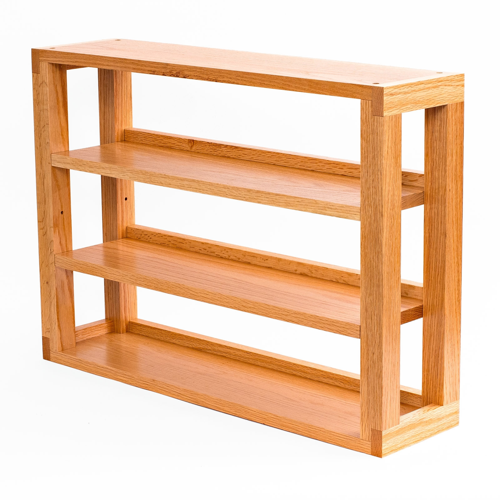 Finished Oak 3-Tier Media Shelves