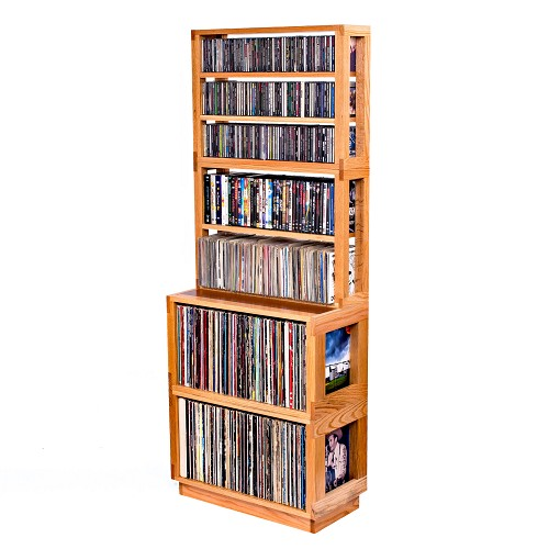(1) 3-Tier Media Shelf, (1) 2-Tier Media Shelf, (2) Oak Eleganza LP Modules with Walnut Stained Inlays and (1) Inset Base