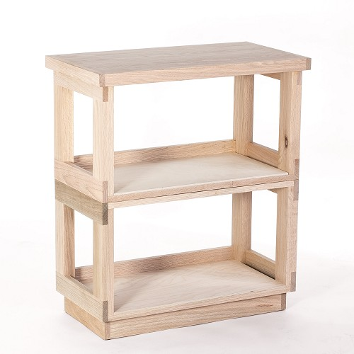 Unfinished Oak Record Shelf with Top & Base