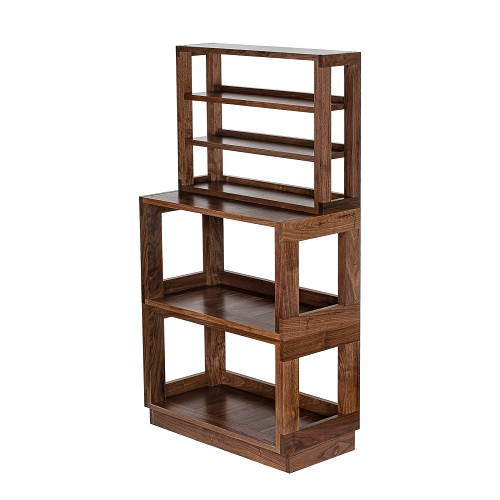 (1) 3-Tier Media Shelf, (2) Heirloom 2 Modules and (1) Full Width Toe Kick Base