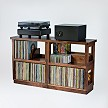Four Walnut Heirloom LP Modules with Double Wide Fitted Top, two Full Width Toe Kick Bases, one Shelf Insert and a Record Stop